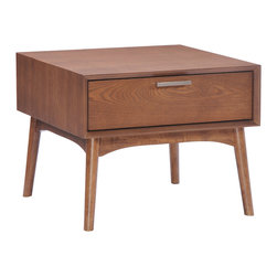 Zuo Modern Contemporary, Inc. - Design District Side Table Walnut - With its mid-centry aesthetic, the Design District Side Table has clean lines and warm walnut tones.  It has beautiful drawers with rails and stainless steel handles.  It is a great piece of design.