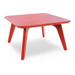 Satellite End Square 26 Table, Apple Red