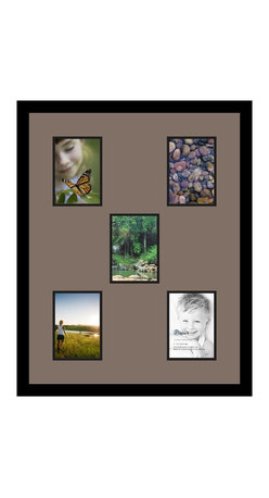 ArtToFrames - ArtToFrames Collage Photo Frame  with 5 - 5x7 Openings - This modern Satin Black, 1.25 inch wide collage frame, features an arrangement for 5 - 5x7 pictures of your choice. This collage is part of an extensive collage frame selection and boasts an ample line of durable frames at a price you can feel good about! Handmade and designed to outfit your pictures ensuring you 5 - 5x7 art will fit exactly so. Bordered in an eye-catching Satin Black, smooth frame and surrounded by a clean Pewter mat, the collage arrangement truly shows off your prized artwork, and your most favorite memories in an entirely unique and fresh way. This collage frame comes protected in Styrene, handy with proper hardware and can be presented within a few seconds. These premium quality and raw wood-based collage frames vary in design and dimension; all in contemporary and modern design. Mats are available in a bevy of color tones, openings, and shapes. It's time to tell your story! Preserving your sharing your memories in an original and brilliant contemporary way has never been easier.