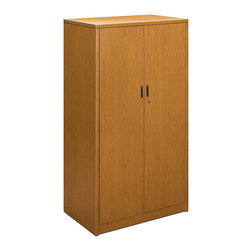 "Hon - 10500 Series 36"" Storage Cabinet 1 - Is your office overflowing with unsightly supplies? Organization's in store with this stylish cabinet. It features four adjustable shelves and a removable closet rod for hanging coats or other clothing."