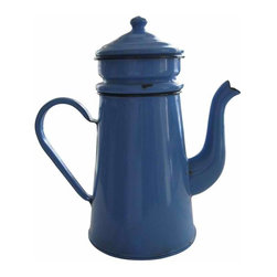 French Blue Coffee Biggin - Striking blue enamelware 3 piece French coffee biggin with navy blue trim; lovely curvy spout and seamed handle circa 1930s. Very good vintage condition for age and wear. Some enamel loss in places, but watertight, no holes, color shiny and bright.