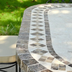 "OUTDOOR DINING TABLE OVAL MARBLE MOSAIC GARDEN PATIO TABLE 71""-OVALI - Reference: OT908-18-US + OTB3-180B"