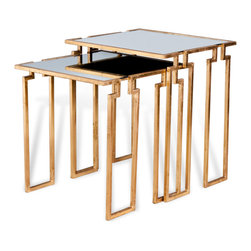 Kathy Kuo Home - Hollywood Regency Antique Gold Leaf Mirror Nesting Side Tables - Use as an elegant side table or paired with another set lengthwise for a beautiful stepped pedestal console table. Antique gold leaf finished with a mirrored top on each table
