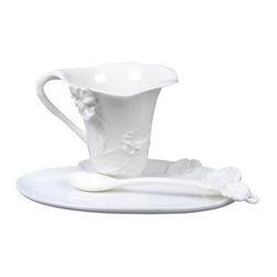 US - 6 Inch All White Glazed Porcelain Poppy Coffee Set with Spoon - This gorgeous 6 Inch All White Glazed Porcelain Poppy Coffee Set with Spoon has the finest details and highest quality you will find anywhere! 6 Inch All White Glazed Porcelain Poppy Coffee Set with Spoon is truly remarkable.