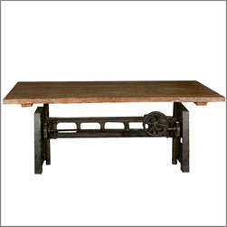 Unique Industrial Iron Base Reclaimed Teak Wood Trestle Dining Table - The industrial style has an edge and a sometimes defiant character as seen with our Industrial Machine Base Dining Table.