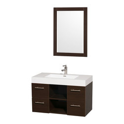 Wyndham Collection - Stephanie Single White with Acrylic-Resin Top and Integrated Sink - The Stephanie wall-mounted vanity delivers beautiful wood grain exteriors offset by modern brushed chrome door pulls. Each vanity provides a full complement of storage areas behind sturdy soft-close drawers and beautiful open storage boxes for towels, cosmetics etc. This versatile vanity is available with a sleek integrated counter to complement any contemporary design ethic. The wall-mounted application and simple clean lines of the Stephanie are no fuss and all style. Dimensions: 36 in. x 18.75 in. x 23.625 in.