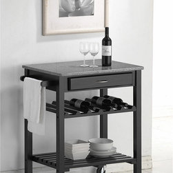 Baxton Studio - Quebec Black Wheeled Modern Kitchen Cart with Granite Top - Meld form and function into your kitchen space with this black kitchen cart with a granite top. Wheeled for maneuverability,this attractive rubber wood cart features a wine rack for your favorite vintages and a shelf and drawer for extra storage.