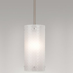 Hammerton Studio - Lattice Pendant by Hammerton Studio - Available Exclusively at Lumens. The Frosted art glass shade featured in the Hammerton Studio Lattice Pendant is carefully handcrafted to add distinctive texture to contemporary settings. The otherwise simple cylinder is dressed up with an intricate basket weave pattern and accented with petite metal studs. Hammerton Studio is a leading U.S.-based lighting designer and manufacturer, best known for its award-winning sculptural creations in all forms of artisan glass. The brand combines artisan-blown and kiln-fired fused glass, hand-hewn steel, and other authentic materials with surprising contemporary design and meticulous attention to detail.