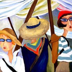 Eyeing The Goods (Original) by Karin Lowney-Seed - Three friends shopping in a foreign market, each with their own unique personality, finding those special treasures together.