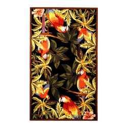 Safavieh - Black Rainforest Rug with Macaws (4 ft. Round) - Size: 4 ft. Round. Hand Hooked. Made of Wool.