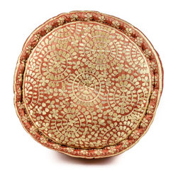 Round Moroccan Silk Pillow, Coral / Cream - An inviting focal point, the Moroccan Silk Pillow's beautiful rust tones glimmer with complimentary silk embroidery. It's soft organic geometrics contrasting a firm support make it an easy way to play with pattern and color.