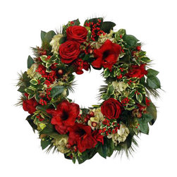 Winward Designs - Amaryllis Wreath - Welcome every visitor to your home with the festive and elegant touch of a holiday wreath. Store this display of Amaryllis and seasonal greenery and enjoy its timeless beauty every winter. It's a rich addition to your annual decor.