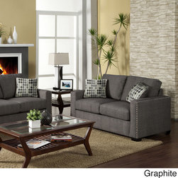 None - Wolver Nailhead-trim Sofa / Love Seat Set - The uniqueness of this nailhead trim contemporary piece will add enhancement and decor to your living area while creating a cozy and inviting feel. This set comes with a sofa and matching love seat,giving you optimal room for guests.