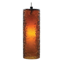 """LBL Lighting - Mini Rock low voltage pendant lamp - Cylinder -   Products description:  The Mini Rock Candy cylinder low voltage pendant lamp from LBL Lighting is designed by LBL Lighting and made in the USA.The Mini Rock Candy cylinder low voltage pendantlamp is made fordomestic and commercial use and comes with mounting options FSJ, MPT, MR2 and MRL. This fixture features a cylinder, mouth-blown transparent glass rolled in clear crystal frit and flash heated to create a unique texture. This fixture comes with 6 feet of field-cuttable cord and is available in amethyst, dark amber, clear, smoke or steel blue color with a bronze orsatin nickel finish.  This fixture is compatible with theLBL Single Circuit Monorail,LBL Two-Circuit Monorail, orLBL Fusion Jack Canopies.                                              Manufacturer:                                           LBL Lighting                                                              Designer:                                           LBL Lighting                                                              Made  in:                                          USA                                                              Dimensions:                                           Height: 10.2"""" (25.9m) X Width: 3.6"""" (9.1cm)                                                              Light bulb:                                           1X 50WGY6.35 Xenon or 1 X 6W LED                                                              Material                                           Metal,glass"""