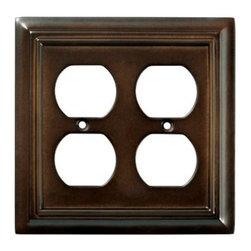 Liberty Hardware - Liberty Hardware 126380 Wood Architectural WP Collect 4.96 Inch Switch Plate - The Liberty Architectural Wood 2-Gang Espresso Duplex Outlet Wallplate features MDF construction for durability and elegant styling to complement your decor. It houses 2 duplex outlets and includes mounting hardware. Width - 4.96 Inch, Height - 4.9 Inch, Projection - 0.4 Inch, Finish - Espresso, Weight - 0.22 Lbs.