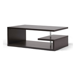 Baxton Studio - Lindy Dark Brown Modern Coffee Table - Reshape your concept of a coffee table with this inspired design. Finding a way to hold all of your living room necessities while looking like a piece of art is why we believe this coffee table thinks outside the box.
