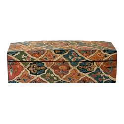 Persian Hand Painted Covered Box - Adorable mango wood box and lid, hand painted in rich colors of greens, blues, coral and cream. New product.