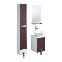 Fresca - Fresca FVN8110DK Adour 16 Inches Dark Walnut Modern Bathroom Vanity With Mirror - Fresca FVN8110DK Adour 16 Inches Dark Walnut Modern Bathroom Vanity With Mirror