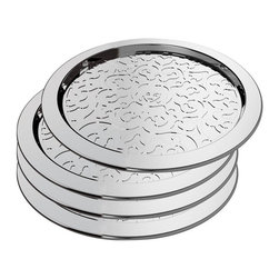 """Alessi - Alessi """"Dressed"""" Coaster Set - Set composed of four glassware coasters in 18/10 stainless steel, mirror polished with relief decoration."""