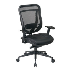 Office Star - Office Star Executive High Back Chair With Breathable Mesh Back and Leather Seat - Big and Tall Executive High Back Chair with Breathable Mesh Back and Leather Seat. Breathable  Mesh Back and Mesh Seat with Adjustable Lumbar Support. One Touch Pneumatic Seat Height Adjustment. Deluxe 2-to-1 synchro Tilt Control with 3-Position Lock, Anti-Kickback, Seat Slider and Tilt Control. Height Adjustable Arms with PU Pads. Rated for 300 Lbs.  Heavy Duty Angled Gunmetal Finish Base with Oversized Dual Wheel Carpet Casters. What's included: Office Chair (1).
