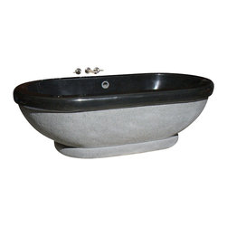The Allstone Group - TOFA-74-H Black Granite Polished Bath Tub - Natural stone strikes a balance between beauty and function. Each design is hand-hewn from 100% natural stone.  Relaxation to many is soaking in a bath.  What could be better than be surrounded by the beauty and feel of natural stone?