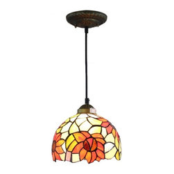 """ParrotUncle - 8"""" Tiffany Stained Glass Sunflower Pendant Lamp - 8"""" Tiffany Stained Glass Sunflower Pendant Lamp"""