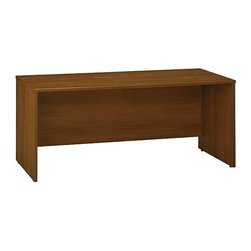 Bush Business - 72 in. Credenza Office Desk in Warm Oak - Ser - Free standing or mounts as return. Desktop & modesty panel grommets for wire access. Accepts Pencil Drawer or Keyboard Shelf. Accepts 71 in. Hutch. Sturdy 1 in.-thick top surface. Durable PVC edge banding protects desk from bumps and collisions. Durable melamine surface resists scratches and stains. 71.023 in. W x 23.346 in. D x 29.724 in. H