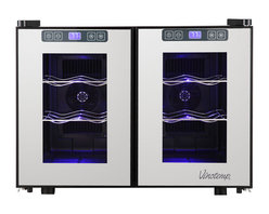 Vinotemp - 12-Bottle Mirrored Touch Screen Thermoelectri - Beautiful wine cooler with mirrored trim. For freestanding installation only. Sturdy black metal cabinet with dual-pane glass door. Recessed handles. Durable chrome racking keeps bottles secure. Soft-glowing interior lighting. Temperature range: 46-65���F. Capacity: approximately 12 standard wine bottles. 19.68 in. W x 21.26 in. D x 14.76 in. H (37.5 lbs)Store your wine collection in the sleek 12-Bottle Dual-Zone Touch Screen Thermoelectric Wine Cooler by Vinotemp. This modern wine cooler features two compartments with independent controls that enable you to store your red and white wines at different temperatures. This energy saving unit holds up to 6 bottles per side on four sturdy chrome shelves. The touch screen control panels located on the doors' exterior make it easy to maintain the ideal environment for wine storage. A black cabinet and dual-pane glass doors with recessed handles make this freestanding cooler an attractive addition to any space.