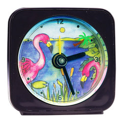 """Flamingo/Palm Tree Alarm Clock - On our Flamingo Alarm Clock, a tiny palm tree floats around the troical scene as it counts the seconds. Each 2.25"""" square alarm clock comes in a gift box and includes a free battery. Made in the USA. (Be sure to look for our Flamingo wall clock, too!)"""