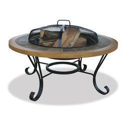 Garden Treasures - Garden Treasures WAD1358SP Slate w/ Faux Wood Firebowl - Handcrafted Slate Tile / Faux Wood Mantle