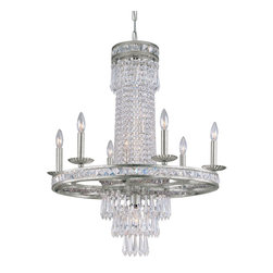 Crystorama - Crystorama 5266-OS-CL-MWP Mercer Chandelier - Our Mercer collection has all the angles covered. It is stunning no matter how you look at it. The metal work is as beautiful as the waterfall of crystal beads and faceted jewels that adorn it. From below, the metal forms a floral design, like something you might see in a stained glass window.