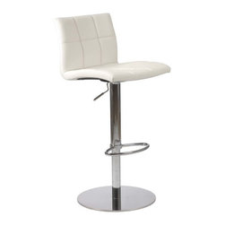 Eurostyle - Eurostyle Cyd Adjustable Height Bar/ Counter Stool in White - Adjustable Height Bar/ Counter Stool in White belongs to Cyd Collection by Eurostyle If it had arms it would be a throne. The full seat and back offer delicious comfort. The squared off seams help keep the shape firm and tidy. This is a chair fit for a king, or just someone who'd like a beer after work and feel like a king. Bar/ Counter Stool (1)