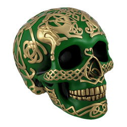 Green Skull with Metallic Gold Celtic Knotwork Statue Pagan - This highly detailed green and gold skull is an excellent addition to any skull collection. Made of cold cast resin, it measures 4 3/4 inches tall, 6 1/2 inches long, and 4 1/2 inches wide. The skull has a hand painted metallic gold endless Celtic knot pattern and is sure to complement most any decor. This piece is an awesome accent to bookcases, shelves, tables or desks in your home or office that is sure to be admired. It is also a thoughtful gift for a skull loving friend.