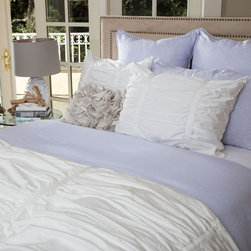 White Ruched Textured Duvet, The Mirabel White - Layer your bed with the expressive and luxurious textures of our modern gray Mirabel ruched duvet cover. With its volume and dimension, the Mirabel white ruched duvet cover is versatile and pairs beautifully with any patterned bedding, making it the ultimate choice for creating a bedroom sanctuary.