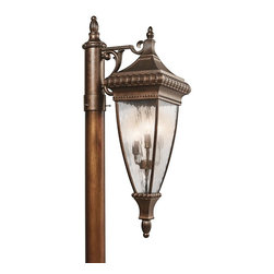 KICHLER - KICHLER Venetian Rain Traditional Outdoor Post Lantern X-ZRB33194 - An elegant Bronze finish accentuates the elongated body and European influencing on this handsome Kichler Lighting outdoor post lantern light. From the Venetian Rain Collection, this post light features elegant curled accents, beaded trim and beautiful candelabra lights that have been paired with eye-catching vertical rain glass panels.