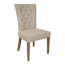 Kathy Kuo Home - Faubourg French Country Tufted Side Dining Chair - The classic French dining chair gets a modern makeover, making it a fitting companion for your contemporary home. Finished in beige linen upholstery, it plays nicely with your other furnishings, too.