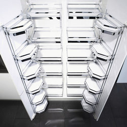 "Tandem Pantry - The Tandem pantry can be used in cabinets from 30""-42"" wide in the dual configuration. When the door is opened, the shelves in the back are pulled forward for easy access."