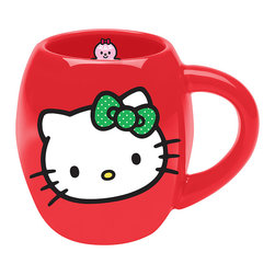 Hello Kitty - Red & Green Hello Kitty Ceramic Oval Mug - This charming mug will always add a nostalgic smile to a sip of chamomile or French Roast thanks to its friendly Hello Kitty design.   Holds 18 oz. Ceramic Hand wash Imported