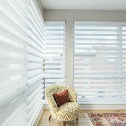 Contemporary Casual Window Treatment Project - Hunter Douglas Pirouette Window Shadings; Semi-Metallic in Natural