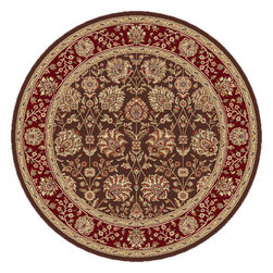 Tayse Rugs - Elegance Brown, Red and Blue Round: 7 Ft. 10 In. Rug - - Classic design that can be used with transitional or traditional d�cor. Wider, contrasting border offers a distinct appeal. Timeless hues of brown, red and gold. Made of soft, easy to clean polypropylene. Vacuum and spot clean.  - Square Footage: 61  - Pattern: Floral  - Pile Height: 0.39-Inch Tayse Rugs - 5338  Brown  8 Round