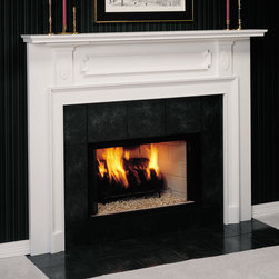 Portsmouth Wood Fireplace Mantel - With classic embellishments and detailing, the Portsmouth wood fireplace shown in Poplar for Painting with White Paint is available in custom and standard sizes and a number of colors.