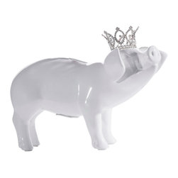 Interior Illusions - Piggy Bank With Crystal Crown - Decorate your desk or bookshelves with this white princess piggy bank. The handmade ceramic piece features a removable coin stop and petite crystal crown. The pig's white gloss glaze and intricately designed tiara make it a fun and polished addition to any children's room.