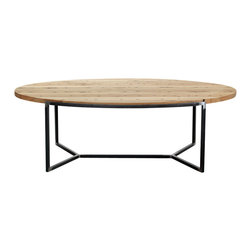 Reclamation Company - Gilbert Cocktail Table, Oak, Clear Lacquer, Metal Base, Black Rub Trough - The Gilbert collection features reclaimed wood tops and shelves with round curved edges set into industrial bases.  Because this is a unique handmade piece, please allow a 4 to 6 week lead time. Note: Please use the swatch image for an indication of the wood and finish options.