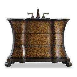 Cole + Co. Designer Series Madeleine Single Bathroom Vanity - Let your bathroom design run a little wild with the Cole + Co. Designer Series Madeleine Single Bathroom Vanity. Crafted with durable hardwood solids, this striking vanity boasts a hand-painted leopard motif and softly curved shape, accented by antique brass pulls with curved-trim pieces and feet in a deep, rubbed brown-black finish. Two storage drawers provide space for spare linens and toiletries. This vanity includes a Cole + Co. sink in your choice of Carlisle and Coventry styles in white or biscuit shades. Three pre-drilled faucet holes have an 8-inch spread.About Cole + Co.Cole + Co. has the expertise and knowledge to effortlessly marry functionality with style, taking the painstaking difficulty out of finding extraordinary pieces for the bathroom. Wood solids such as elm, alder and pine are combined with birch, cherry and aspen veneers for a truly custom and unique look. Currently available across the United States and Canada, Cole + Co.'s vanity units and accessories are moderately priced for the architect, home builder, designer and consumer.