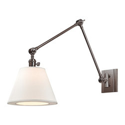 "Hudson Valley - Industrial Hudson Valley Hillsdale 10"" Wide Swivel Nickel Wall Sconce - This versatile Historic Nickel finish single-light metal hardwired wall sconce is an alluring blend of traditional and contemporary style. An extra-long arm attached to a handsome backplate with vertical detail swings and locks at two points while the contemporary clip-on white linen shade swivels up and down. Enhance your decor for years to come with this beautiful Hudson Valley lighting design. Swivel swing-arm wall sconce. Historic Nickel finish. Metal construction. Contemporary white linen shade. Hardwired. Vintage cast swivels adjust in 3 places. Takes one maximum 60 watt or equivalent candelabra bulb (not included). Extends 34"". Rectangular backplate. 10"" high.  Swivel swing-arm wall sconce.  Historic Nickel finish.  Metal construction.  Contemporary white linen shade.  Hardwired.  Vintage cast swivels adjust in 3 places.  Takes one maximum 60 watt or equivalent candelabra bulb (not included).  Extends 34"".  Rectangular backplate.  10"" high."