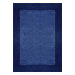 Rug - ~8 ft' x 11 ft' Large Solid Blue Transitional Living Room Area Rug, Hand Woven - Living Room Hand-tufted Shaggy Area Rug