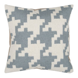 Surya - Square Pillow FA-027 - Always in style, this pillow is accented by a houndstooth pattern. Colors of papyrus and slate blue give it a soft touch. This pillow contains a poly fill and a zipper closure. Add this pillow to your collection today.