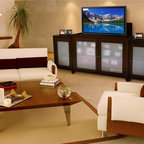 """Tuscany TV Lift Cabinet With Side Cabinets For Flat Screen TV's Up To 55"""" - Based on the distinctive design of our Brookside and Longmont units, the Tuscany offers the very same TV lift technologies outfitted in a classy burnished espresso. Its deep brown tone will instantly become the focal point of any room."""