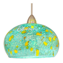 """Komal Quick Connect Pendant Light - The rounded earthly shapes of the Komal or """"miracle"""" glass add an ethereal and delicate touch to any setting. The soft tones call upon colors of the sunrise and ocean to weave together a mix of the natural elements."""