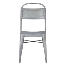 Hess Side Chair - We all love the look of the classic galvanized chair, but the twist on the seat back of this one is fantastic.